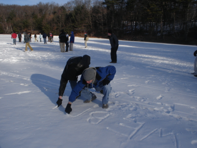 Weber Class of 2007 at Walden Pond, February 2005