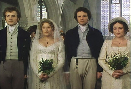 Mr. Bingley, Jane, Mr. Darcy, and Elizabeth at their double-wedding ceremony in <em>Pride and Prejudice</em>