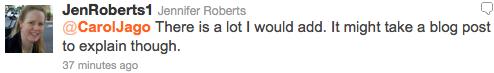 Jen Roberts Tweet