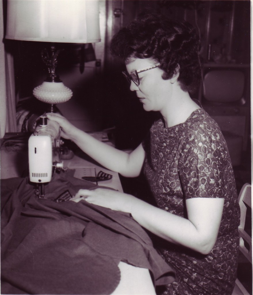 Granna Sewing on Papa's Stripes